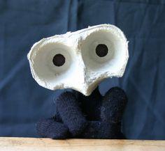 Repurpose egg carton as owl puppet