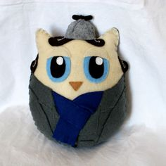 Sherlock Owlmes - Handmade Felt Owl Plush Toy. Sherlock Holmes played by Benedict Cumberbatch.