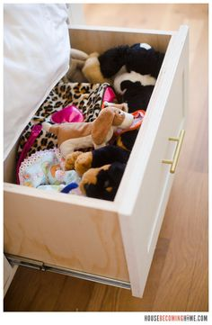 DIY twin bed with drawers. Diagram, photos, materials list and instructions for putting together the DIY twin bed. Bed Storage, Storage Drawers, Storage Chest, Twin Bed With Drawers, Kids Bedroom, Bedroom Ideas, Toy Chest, Toddler Bed, Twins