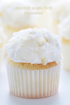 Coconut Angel Food Cupcakes! Great idea with coconut flavor...would make these from scratch though.