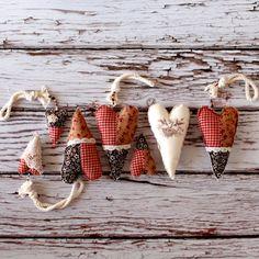 Christmas tree ornaments Set of fabric hearts Holiday by boxox