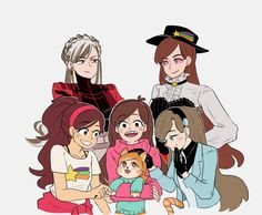 I know that the three in the front are regular mabel reverse mabel and fight falls mabel  Along with a cat ? . Idk who the other two are but they look amazing !