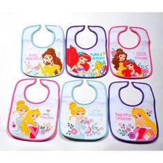 Princess Infant Bibs, Pack of 6, Multicolor