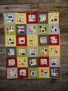 Fantastic bold modern baby quilt made with Kona Modern Quilts by Cathy for a guild challenge. The quilting is #Aurifil 50wt in a light gray. To see more visit http://cathy-blueberrypatch.blogspot.com/2012/09/kona-modern-quilts-baby-modern.html