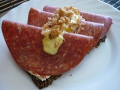 Danish open sandwich with Salami and Remulade. Just the way I like it. Get the recipe at http://www.denmark-getaway.com/danish-remulade.html