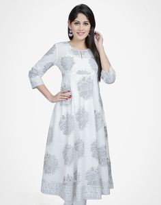 Cotton Printed Empireline Long Kurta Kurta Patterns, Dress Patterns, Indian Suits, Indian Wear, Churidar, Salwar Kameez, India Fashion, Women's Fashion, Ethenic Wear