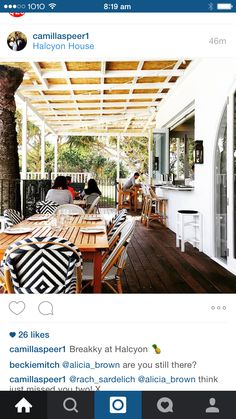 Like the bambu roof & wood planks - over dining on terrace