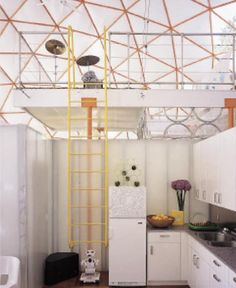 nice way to come along and divide the space in a geodesic dome home