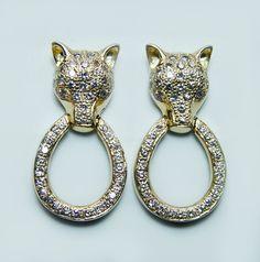 Vintage 1.1ct Diamond Fox Door-Knocker Earrings 14K  Gold Heavy Estate Jewelry