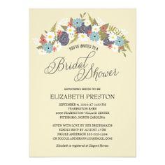 Rustic Floral Wreath Bridal Shower Invitation #weddings #bridalshower #floralwedding #botanicalgarden
