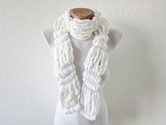 Hand knitting Long Scarf Mulberry Scarf White Pompom by scarfnurlu Holiday Fashion, Autumn Fashion, Pompom Scarf, Velvet Scarf, Long Scarf, Womens Scarves, Hand Knitting, Women Accessories