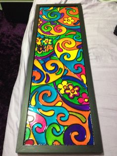 Glass Painting Patterns, Glass Painting Designs, Pottery Painting Designs, Stained Glass Patterns, Paint Designs, Stained Glass Paint, Fused Glass Art, Funky Painted Furniture, Art Sculpture