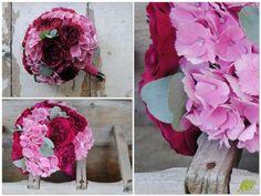 Ramo de novia en fucsia y rosa con rosas David Audtin darcey y horetensias. Mayula Flores