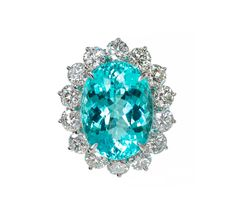 Blue Paraiba Tourmaline Diamond Platinum Ring | From a unique collection of vintage fashion rings at https://www.1stdibs.com/jewelry/rings/fashion-rings/