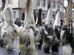 """Those are called """"Kukeri"""". Ancient Bulgarian tradition to remove evil spirits! Do you have this kind of tradition in your country?"""