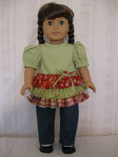 American Girl Doll Clothes   Ruffled Lime Blouse by TwoSistersDoll, $27.00