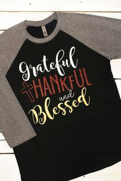 Grateful, Thankful, Blessed Tri-Blend Unisex 3/4 Raglan, Premium Heather/Vintage Black #NL6051