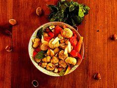Gnocchi Ig bas (si patates douces ) à la sauce tomate, noisettes et basilic