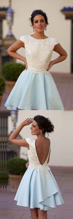 Bateau Knee-Length Light Blue Chiffon Homecoming Dress with Appliques