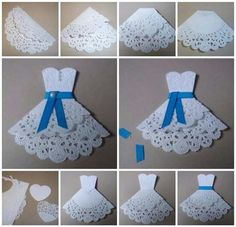 New Origami Dress Card Robes 26 Ideas Paper Doily Crafts, Doilies Crafts, Paper Doilies, Diy Paper, Paper Lace, Hobbies And Crafts, Diy And Crafts, Crafts For Kids, Arts And Crafts