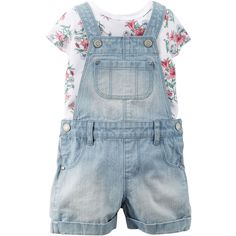 2-Piece Tee Shortall Set ❤ liked on Polyvore featuring baby, baby clothes and girl clothes