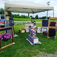 Vendor Display Limited products Focal point Craft show set up  #threetwothree #threetwothreewoodworks #woodworker  #handmade #clarksville #clarksvilletn #fortcampbell #oakgrove #handpainted #military #themill #armywife #armylife #smallbusiness #buylocal #todoinclarksville #weekendevent #craftshow #vendorsale