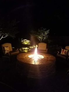 A night shot of the fire pit. BEAUTIFUL! Stone Masonry, Night Shot, Outdoor Kitchens, Fireplaces, Patio, Outdoor Decor, Beautiful, Home Decor, Fireplace Set