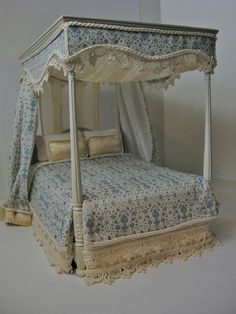 1:12 Dressed Canopy Bed by Ken@JBM, via Flickr