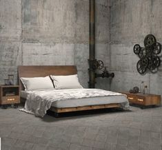 Zuo® Modern Oaktown Platform Bed In Distressed Walnut. Industrial ...