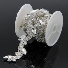 1 Yard Clear Rhinestone Trimming Chain Applique Pearl Trim Wedding Bridal  Craft Sewing DIY Width 2cm 5a2eb0912ef6