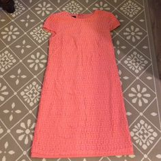 Coral Lace Nordstrom Dress Only worn once then dry cleaned! Adorable coral lace with fun pattern. Cap sleeves. From Nordstrom. Maggie Boutique Dresses