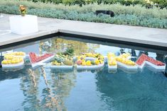 Fresh fruit decorated a hard-to-miss Svedka vodka logo that floated in a pool. 6 Fruit-Filled Decor Ideas From Svedka's Colorful...