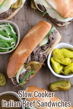 Slow Cooker Italian Beef My easy recipe for Crockpot Italian Beef for sandwiches is simple and delicious. This slow cooker Italian beef is family-friendly too! Best Crockpot Recipes, Easy Meat Recipes, Slow Cooker Recipes, Easy Meals, Cooking Recipes, Crockpot Ideas, Sandwich Recipes, Kitchen Recipes, Copycat Recipes