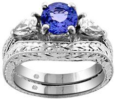 1.61 Carat Tanzanite Diamond Platinum Antique Style Ring & Wedding Band Tanzanite Ring Platinum