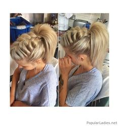 Top braid and a ponytail