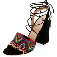 Valentino Native Beaded Lace-Up Sandal ($1,375) ❤ liked on Polyvore featuring shoes, sandals, shoes sandals, suede lace up shoes, valentino sandals, block heel shoes, beaded sandals and wide strap sandals