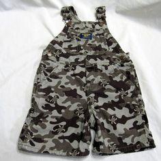 Oshkosh Overalls Size 24 Months Toddler Boy Camo Turtle Army Shorts Vestbak #OshKoshBgosh #Everyday