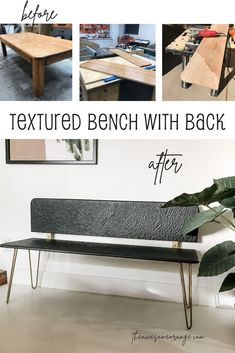I transformed an outdated oak coffee table into a modern bench with a  back and AWESOME texture! #diy #powercarving #upcycle #woodworking #bench #benchideas Diy Furniture Plans, Furniture Hacks, Woodworking Projects Diy, Diy Furniture Easy, Solid Oak Coffee Table, Furniture Plans, Bench, Coffee Table, Modern Bench