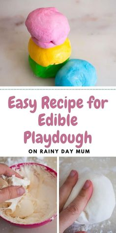 A simple recipe to make at home for edible playdough. Ideal to use with toddlers and those that put everything in their mouths. Just 2 ingredients and can be easily coloured too! Indoor Activities For Toddlers, Preschool Learning Activities, Preschool Science, Sensory Activities, Sensory Play, Teaching Ideas, Home Made Playdough Recipe, Marshmallow Playdough, Boredom Busters For Kids