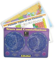 Educational place mats including periodic table, star chart, map of USA.