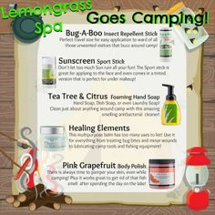 Don't go camping without these great products 97-100% natural.
