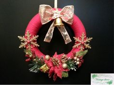 Red wreath for Cristmas. Winter's Tale, A Christmas Story, Christmas Wreaths, Holiday Decor, Red, Handmade, Home Decor, Christmas Swags, Hand Made