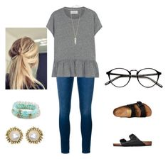 """""""Untitled #79"""" by ashleighyeager on Polyvore featuring Frame Denim, Birkenstock, The Great, Sequin and Kendra Scott"""