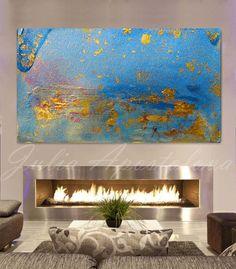 """Modrý Malba, """""""" Starry Night '' Modrá abstraktní umění, Minimalistický Malba, tisk, tyrkysová a zlato, modrá umělecká reprodukce, Minimal, modrá Home Decor"""