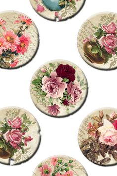 Digital Collage Sheet Vintage flowers on music sheet background 1 inch round images Original Printable inch sheet 132 Cd Crafts, Diy Home Crafts, Diy Arts And Crafts, Recycled Cds, Cd Art, Free To Use Images, Decoupage Art, Collage Sheet, Collage Collage
