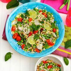 Barley salad with chickpeas, fava beans and peas recipe - fresh peas at their best in June!