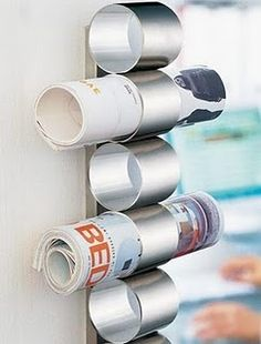 Roll and hang magazines- cute idea for the bathroom