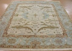 8 x 10 OUSHAK Hand Knotted Tribal BEIGE BLUE Wool NEW Oriental Rug Carpet…