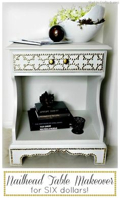 Designer-Inspired Nailhead Table Makeover (for SIX dollars) - Mad in Crafts