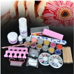 Básico acrílico 6 pó Kits líquido Nail Art dica Kit 6 Glitter Tool Set alishoppbrasil
